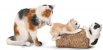 Schleich Cat Grooming with Kittens Playing-2 pc