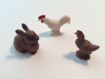 Safari Mini Rooster, Hen and Bunny
